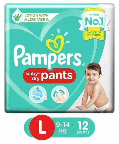 PAMPERS  BABY DIAPER PANTS LARGE  (12PAD)
