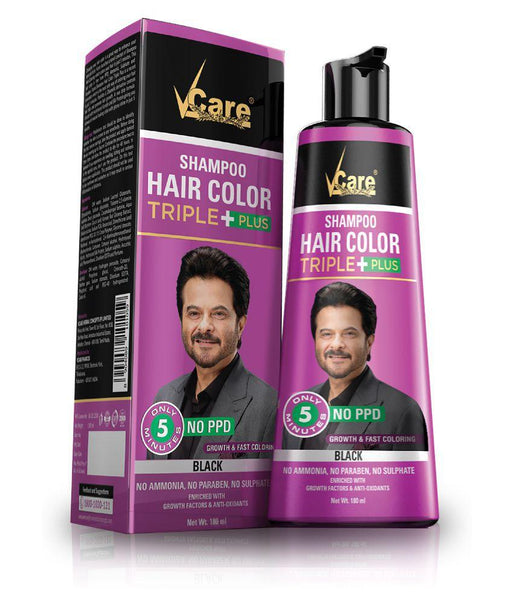 V CARE HAIR COLOUR SHAMPOO(BLACK) 180ML