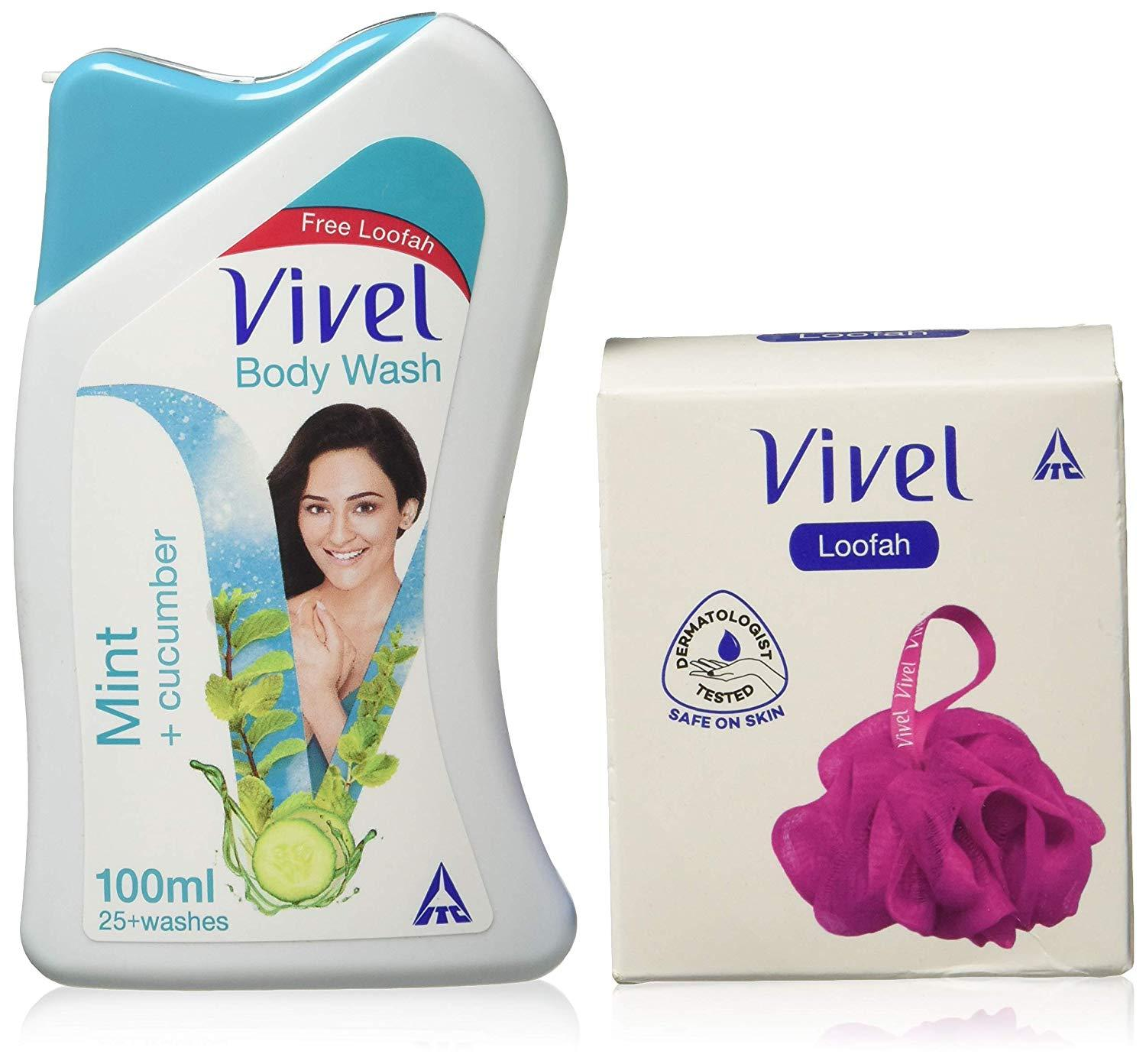 VIVEL BODY WASH MINT +CUCUMBER 100ML  (FREE-LOOFAH)