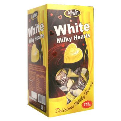 WHITE MILKY  HEARTS 425GM (125Pcs)