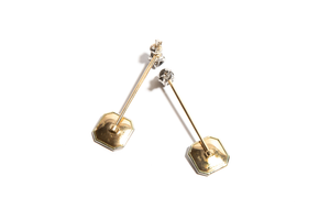 ADRIAN: Platinum & Yellow Gold Mother of Pearl and Salt & Pepper Interchangeable Earrings