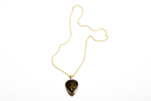 HENDRIX: Yellow Gold Pietersite Guitar Pick Pendant
