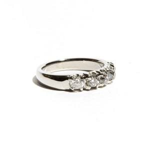 SILVIA: White Gold European Cut Diamond Band