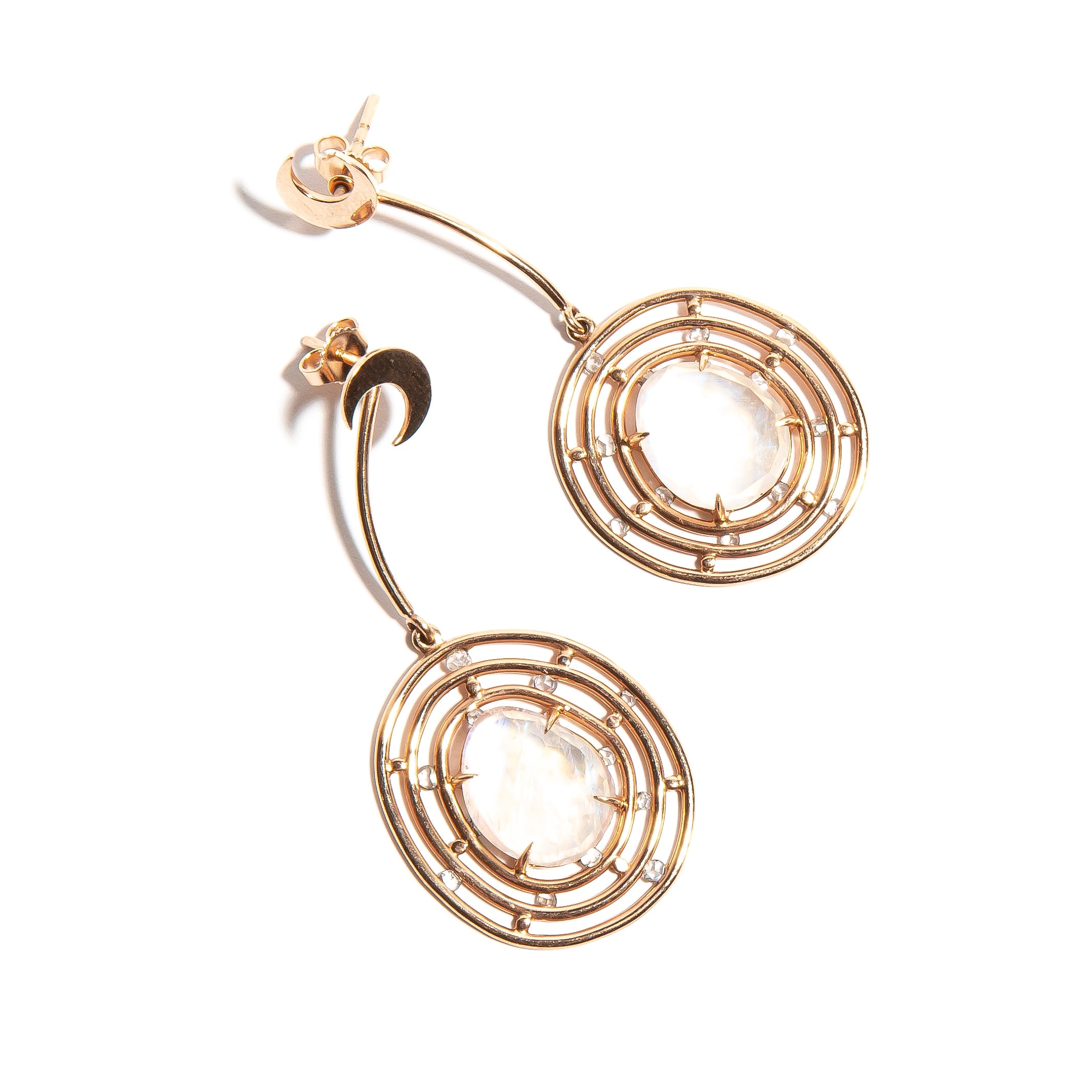 ADA: Rose Gold Moonstone and Diamond Earrings