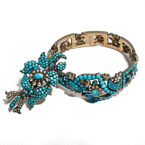 THE ATLANTIC SET: Silver Seed Pearl and Turquoise Bracelet and Brooch