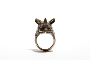 ATTENBOROUGH: Silver Hand Carved Rhino Ring