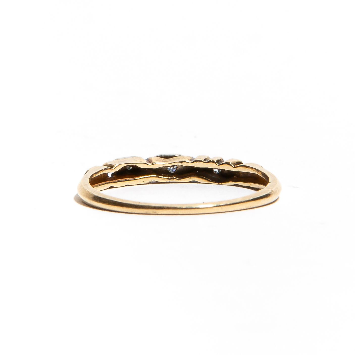 AURORA: Vintage Two Tone Gold Diamond Wedding Band