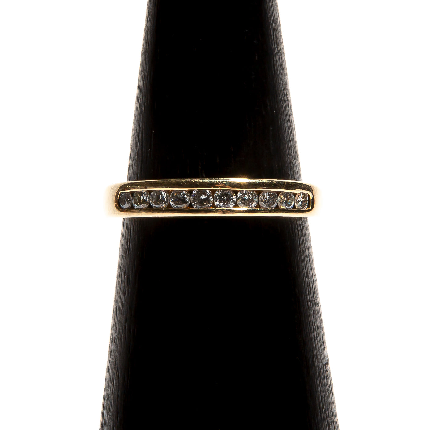 BEATRICE: Yellow Gold Channel Set Diamond Half Eternity Band