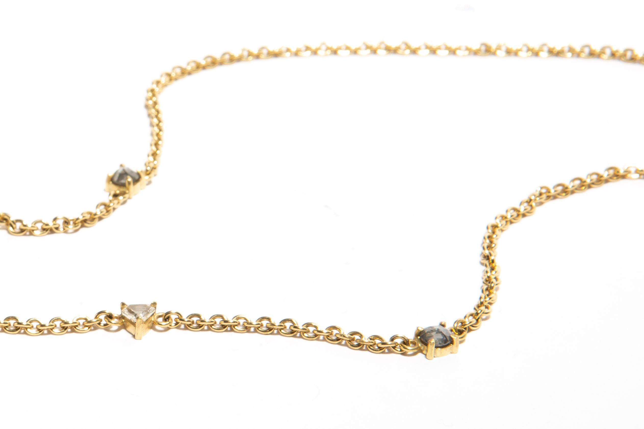 CASCADE: Yellow Gold Salt and Pepper Diamonds Station Necklace