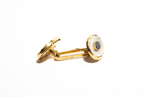 GEORGE: Yellow Gold Sapphire and Mother of Pearl Cufflinks