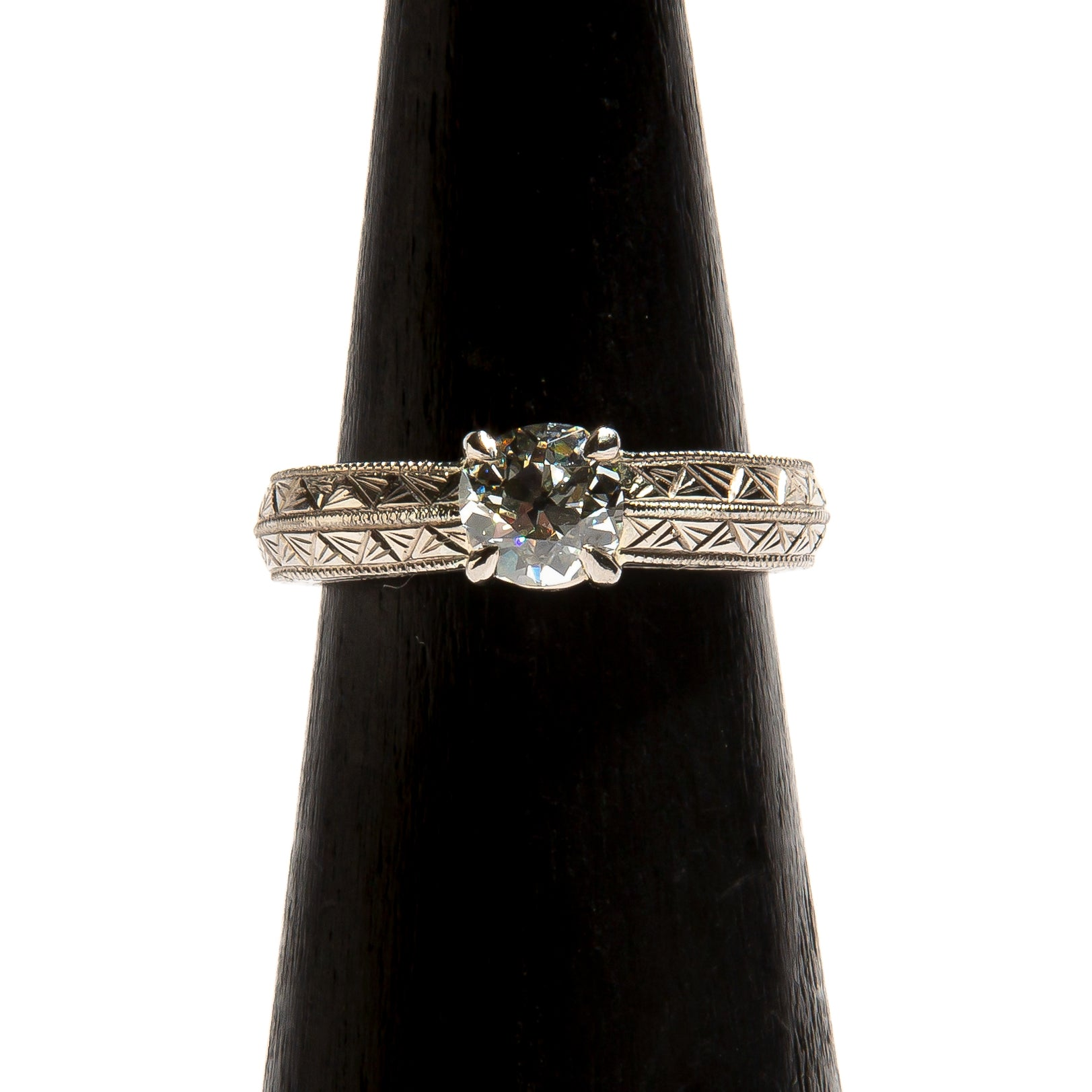 GLADYS: White Gold Palladium Solitaire Diamond Engagement Ring