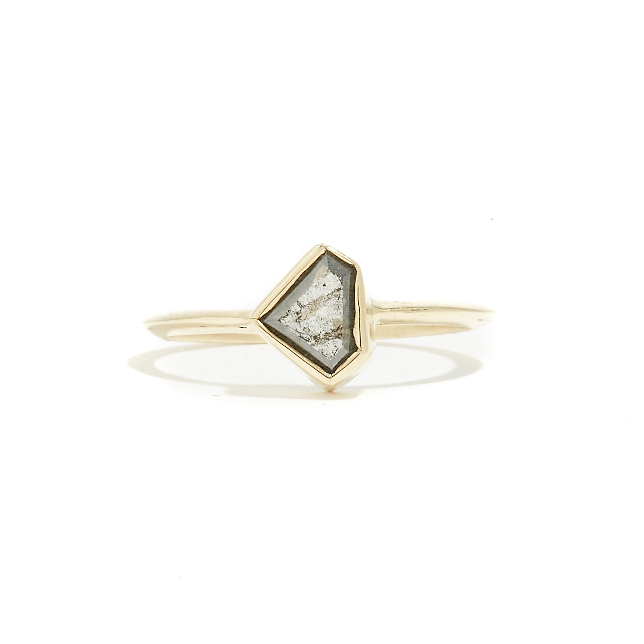 GREY GATSBY: Yellow Gold Salt & Pepper Diamond Knife Edge Ring