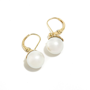 UNDER THE SEA: Yellow Gold Pearl Drop Earrings