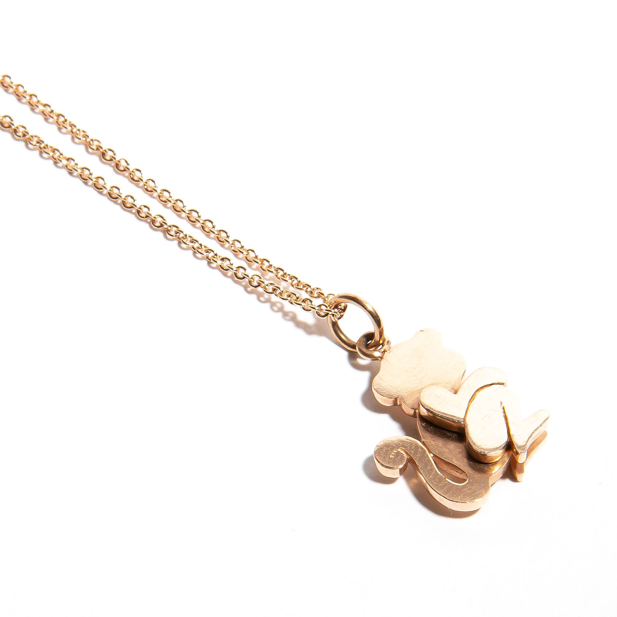 MARCEL: Rose Gold Diamond Monkey Pendant