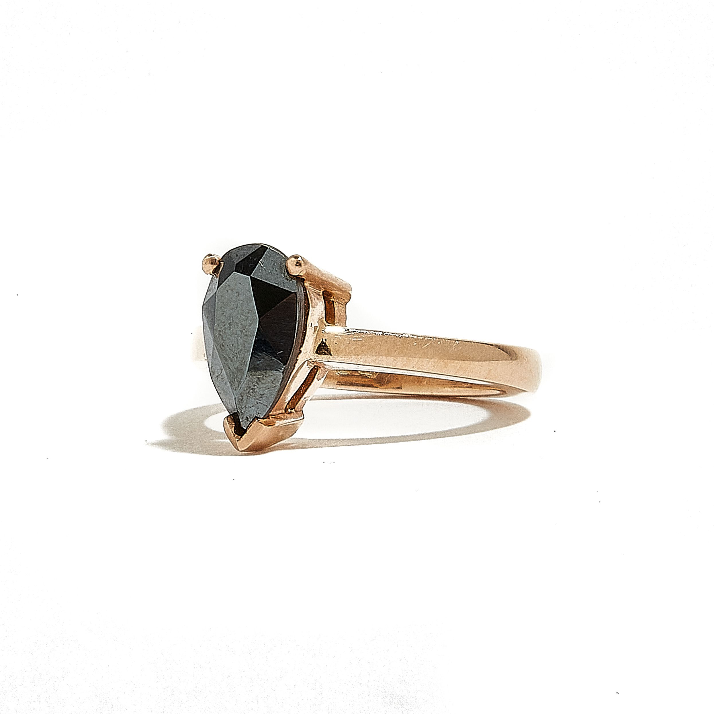 NAPLES: ROSE GOLD PEAR SHAPED HEMATITE RING