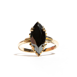 NOVA: Yellow Gold Marquise Hematite Ring