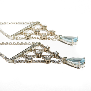 PARIS: White Gold Aquamarine and Salt & Pepper Diamond Chandelier Earrings