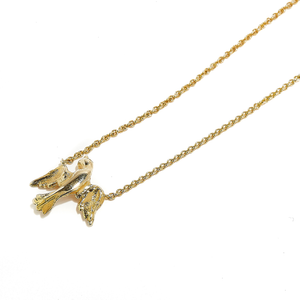 SPARROW: Yellow Gold Hand Carved Sparrow Pendant Necklace