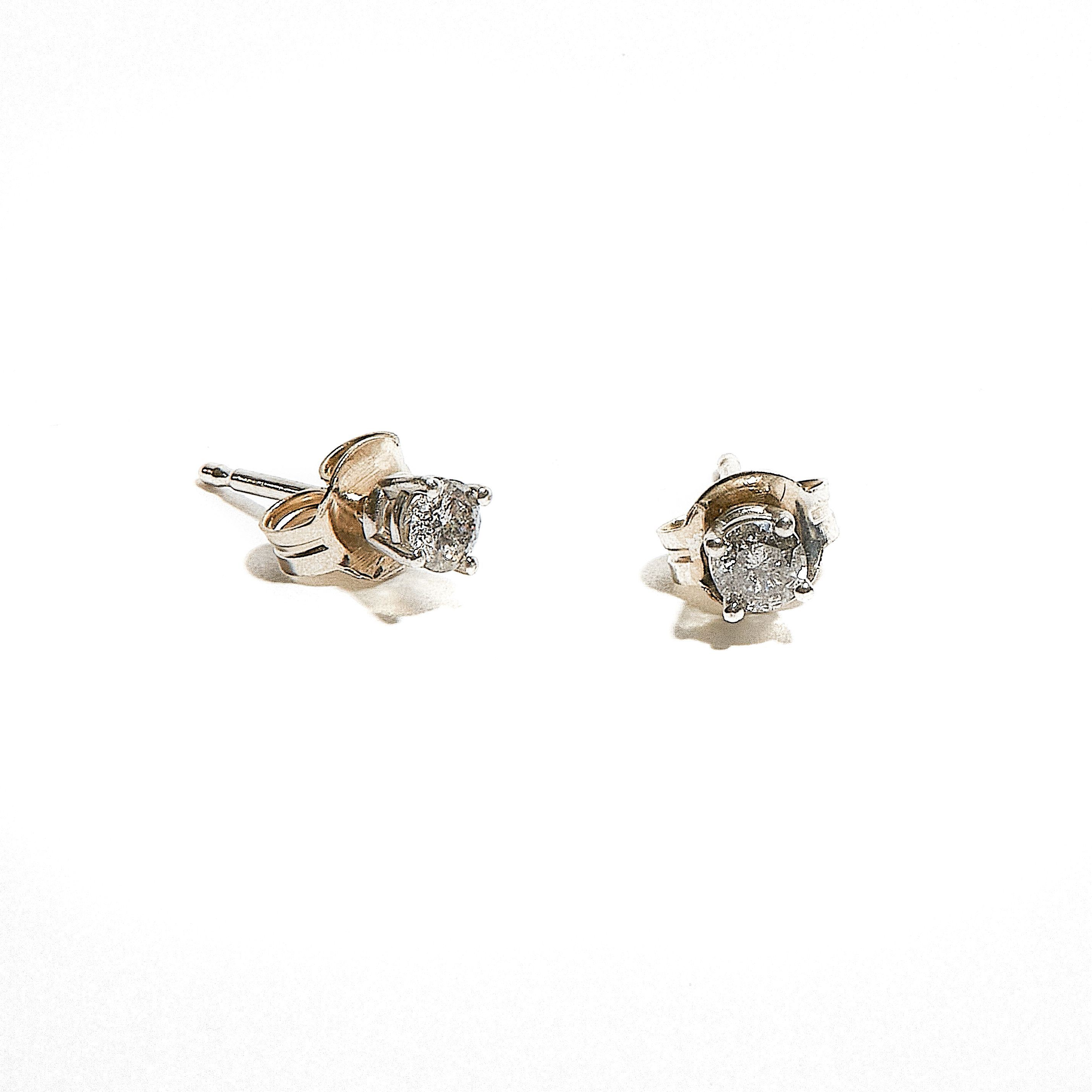TINK: Petite White Gold Salt and Pepper Diamond Studs