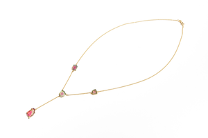 WATERMELON SUGAR: Yellow Gold Watermelon Tourmaline Rolo Link Necklace
