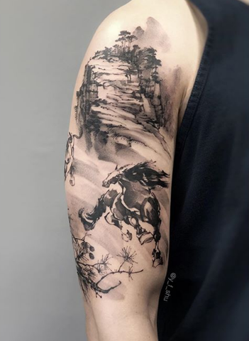 Chinese mountain river tattoo