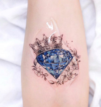 Colorful Diamond and Crown Tattoo Design