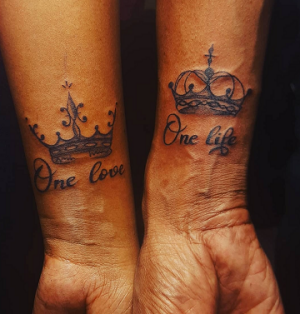 King and Queen Crown Tattoo Design on Wrist