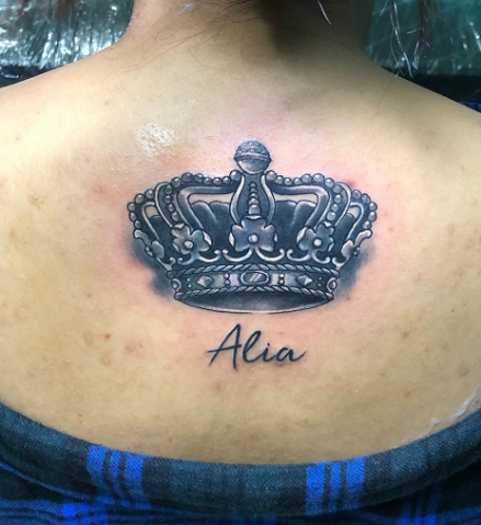 Crown Tattoo Design for Girls on the Upper Back