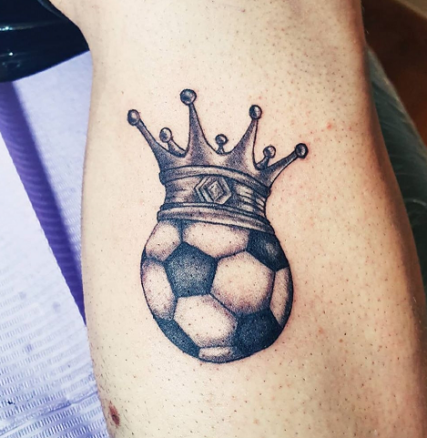 crown soccer ball tattoo