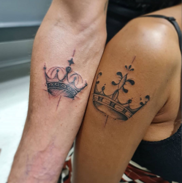 couple king and queen crown tattoo