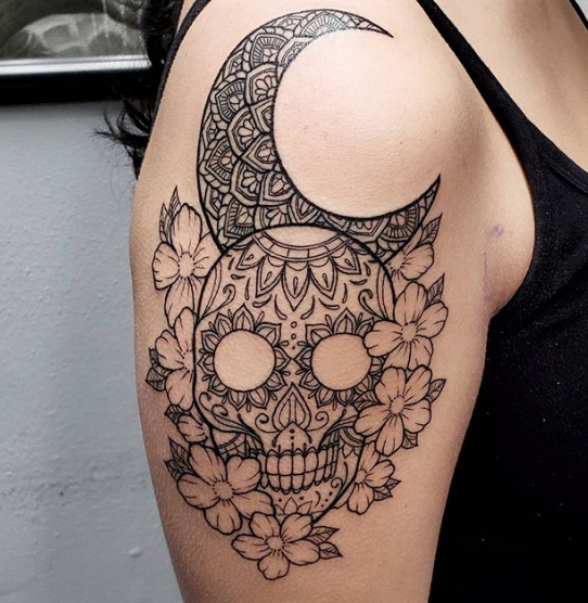 moon and flower skull tattoo