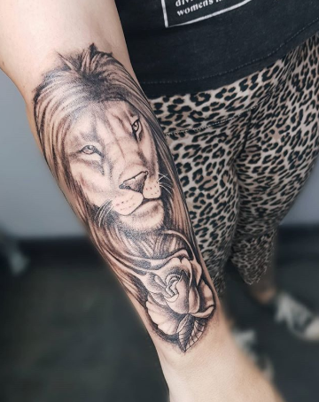 lion forearm tattoo for men and women