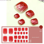 Transparent Red Linear Nail Wraps for Toes