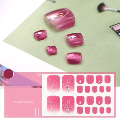 Crystal Pink Linear Design Nail Wraps for Toes