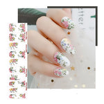 White Painting Floral Nail Wraps