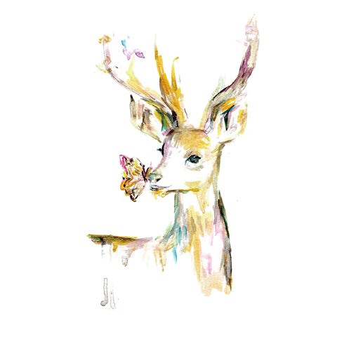 Watercolor Deer With Butterfly