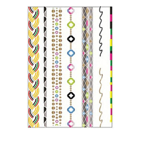 Metallic Colored Stripes Tattoo Sticker