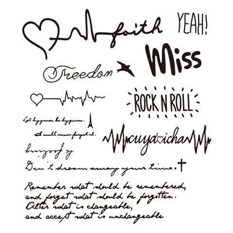 Handwritten Rock and Roll Tattoo Stickers