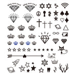 Small Icon Diamonds Stars Tattoo Stickers