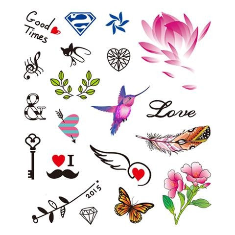 Colored Floral Tattoo Stickers for Girls