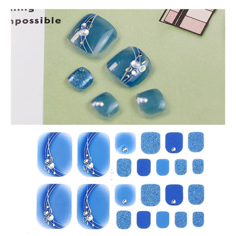 Glitter Crystal Blue Nail Wraps for Toes