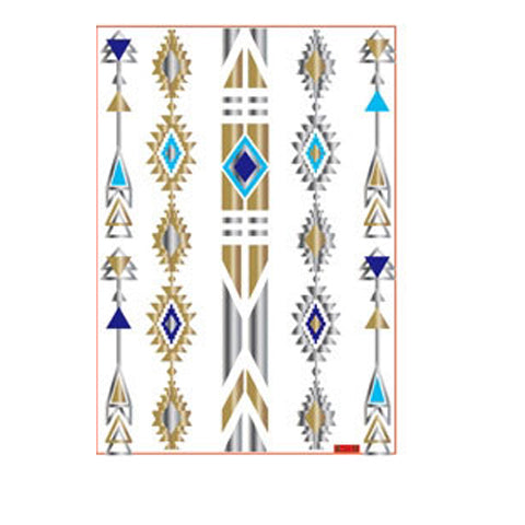 Metallic Totem Blue Stripe Tattoo Sticker
