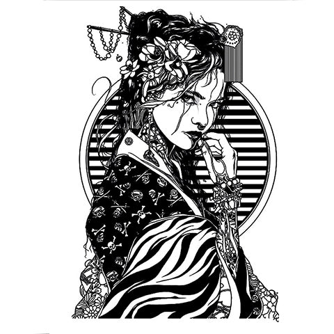 Monochrome Geisha Tattoo Sticker
