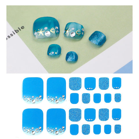 Shimmer Glitter Beach Blue Nail Wraps for Toes