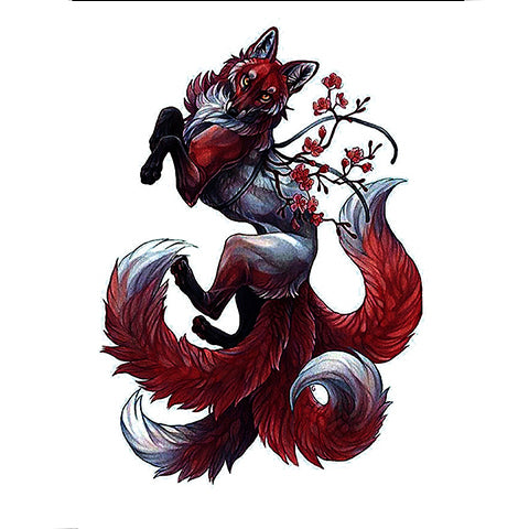 Floral Fox Tattoo Sticker