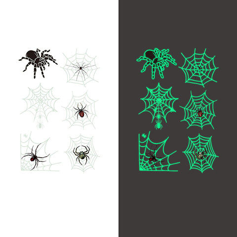 Luminous spider Temporary Tattoo Sticker-6 Glow in the dark