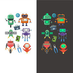 Luminous robot kids temporary tattoo Glow in the dark