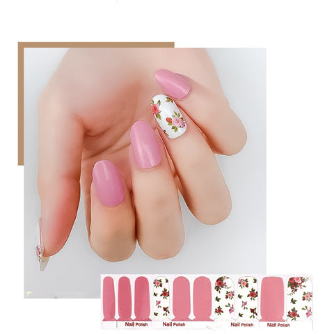 Pink White Floral Girlish Nail Wraps