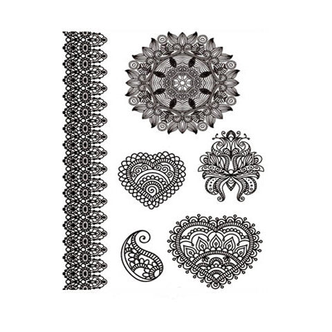 Indian Mehndi Hearts Stickers Set