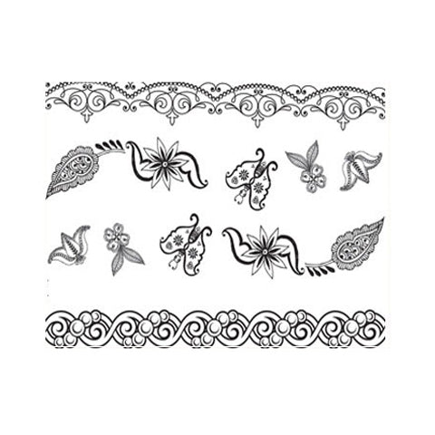Indian Mehndi  Butterfly Stickers Set